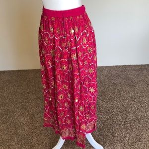 Pink sequin ethnic skirt from India